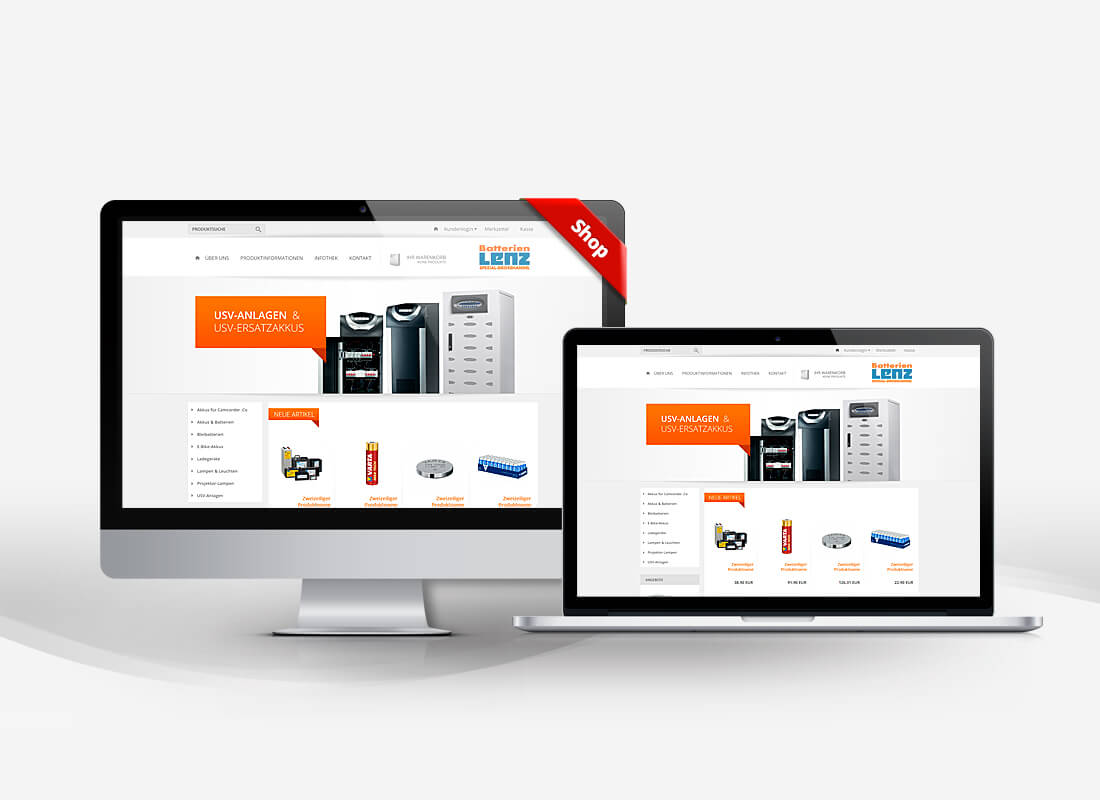 Batterien Lenz Batterien Shop - Dupp GmbH Shop Webdesign Referenz