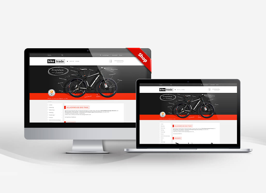 Bike Trade Fahrrad Ersatzteile - Dupp GmbH Shop Webdesign Referenz
