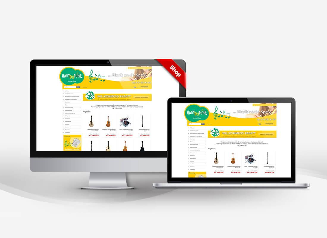 Hast du Töne Musikinstrumente - Dupp GmbH Shop Webdesign Referenz