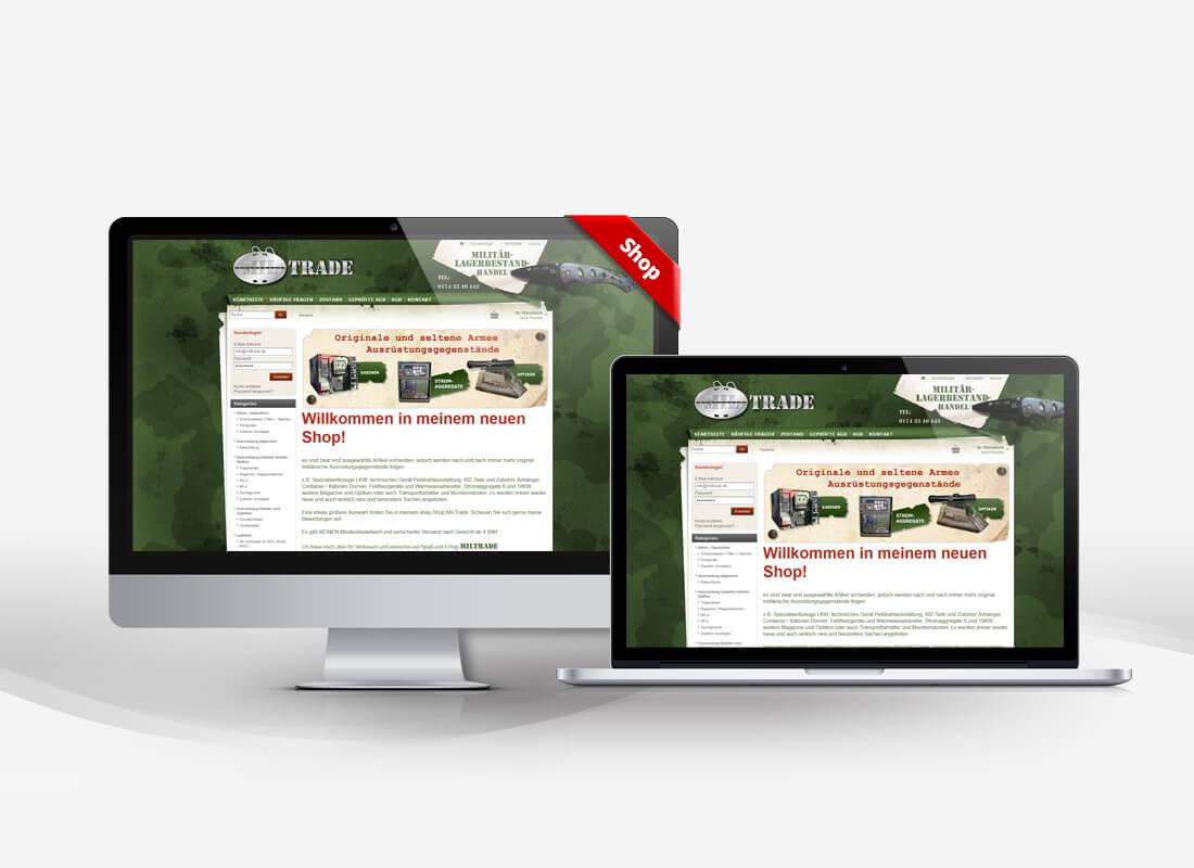 Miltrade - Militärhandel - Dupp GmbH Shop Webdesign Referenz
