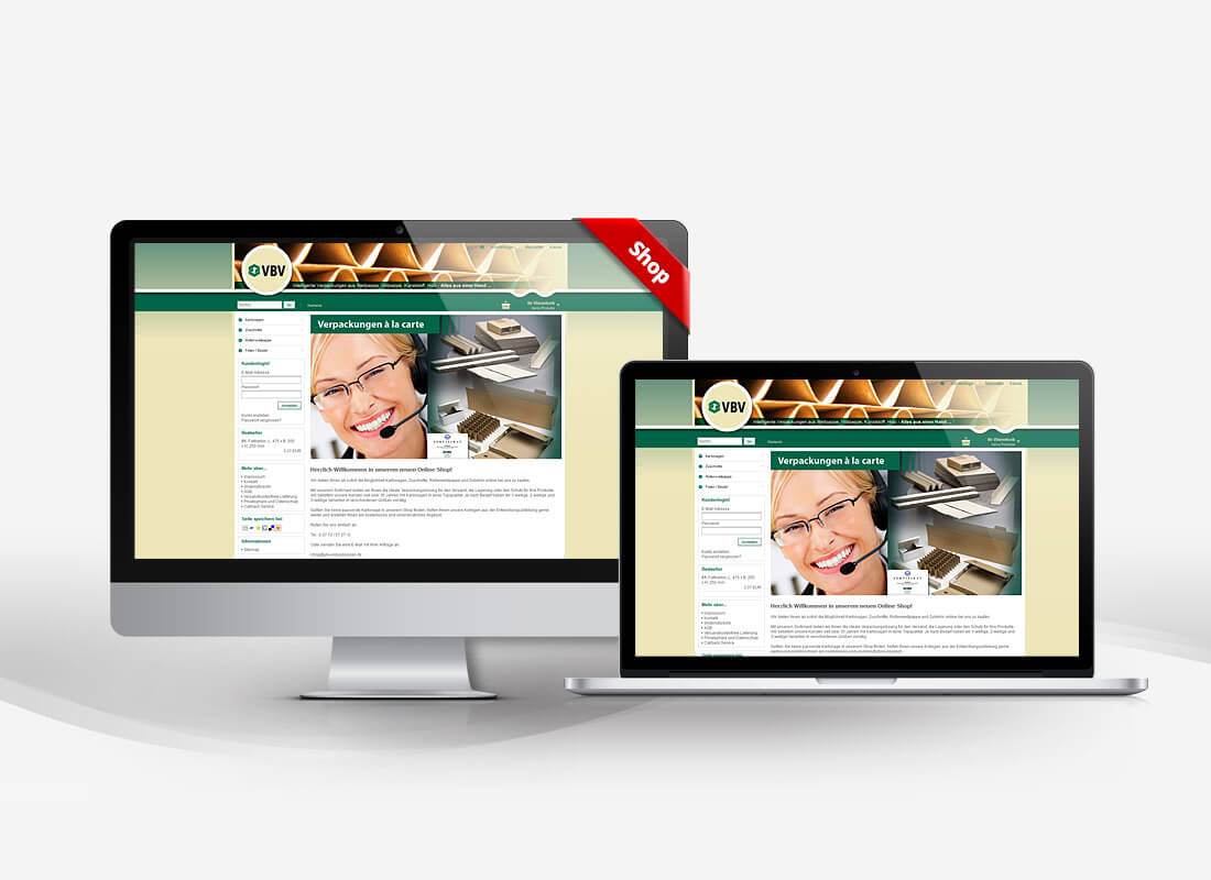 VBV Verpackungen - Dupp GmbH Shop Webdesign Referenz