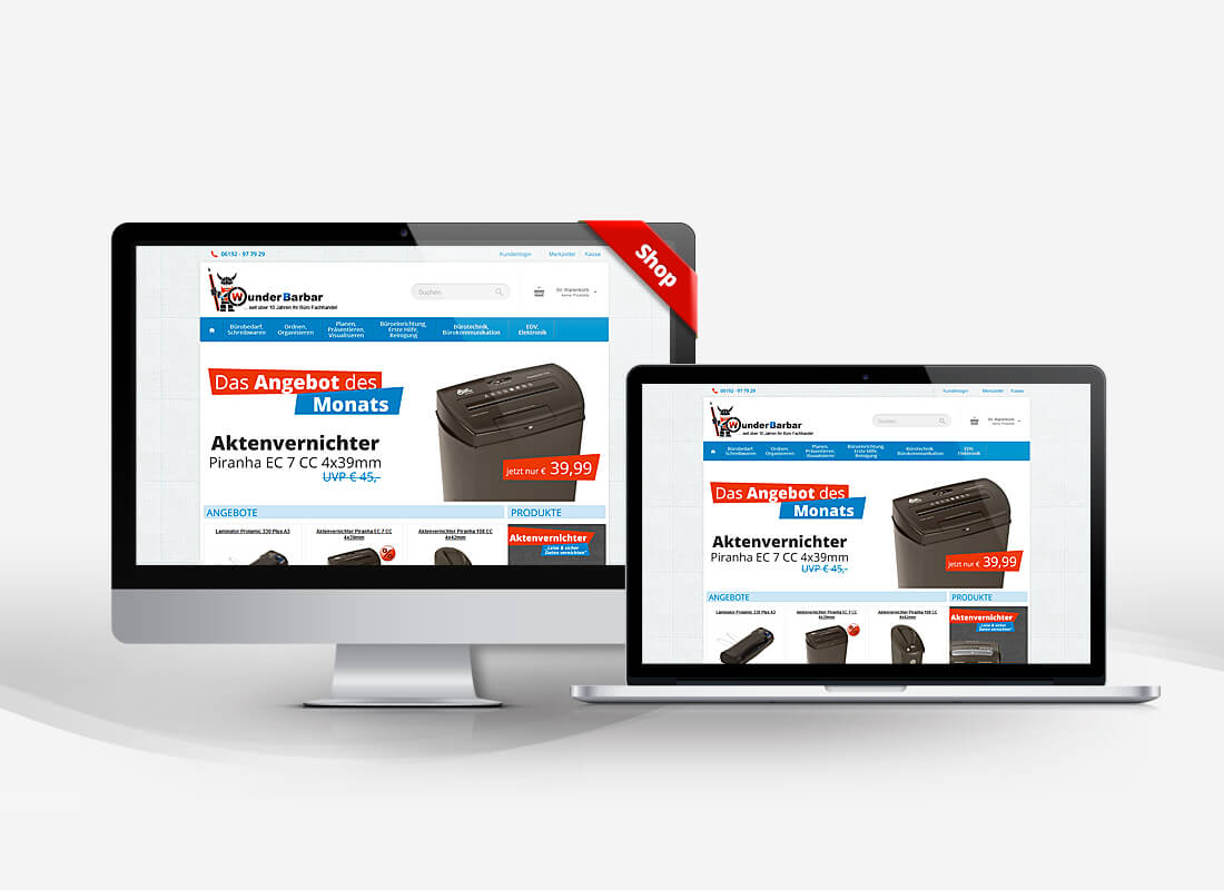 Wunderbarbar Bürobedarf - Dupp GmbH Shop Webdesign Referenz