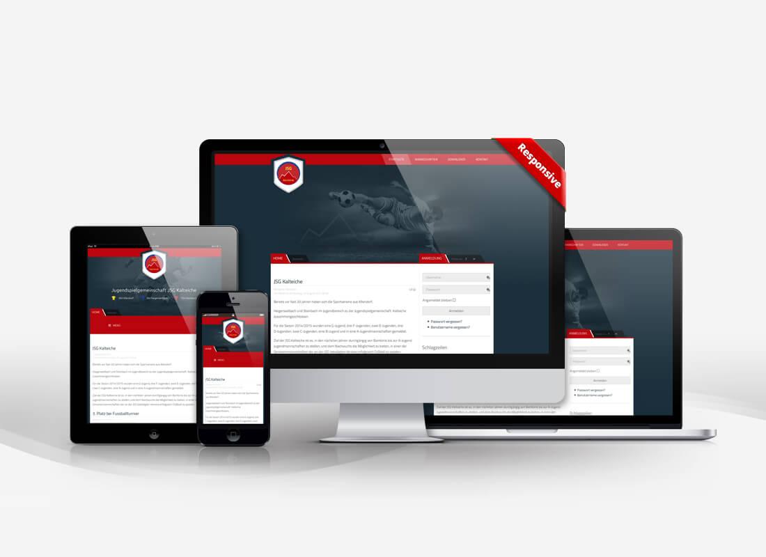 Fußball, Joomla, responsieves Design